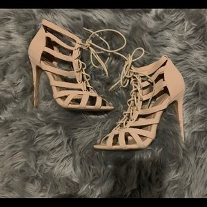 Charlotte Russe Nude Laceup Heels size 7 used